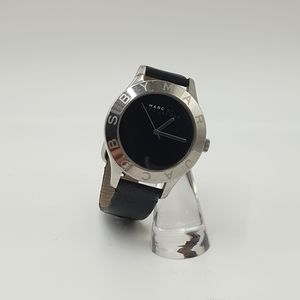 Marc By Marc Jacobs Black Leather Silver Dial Large Face Watch